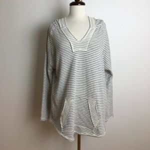 Ocean Drive Gray & White Striped Sweatshirt L